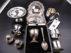 A PAIR OF VICTORIAN SILVER PIERCED WORK BON BON DISHES AND A CHRISTENING CUP, A CASED EGG CUP AND