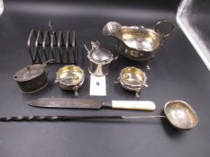A SELECTION OF EARLY 20th C. SILVERWARE TO INCLUDE A JAMES DIXON & SONS CRUET SET, A CHESTER