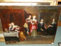 OLD MASTER SCHOOL. FIGURES MERRYMAKING IN A BEDCHAMBER, OIL ON CANVAS, UNFRAMED. 70 x 89cms.