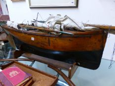 AN IMPRESSIVE LARGE 19th / 20th.C.SCRATCH BUILT POND YACHT WITH WEIGHTED KEEL COMPLETE WITH MASTS,