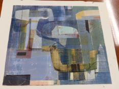 20th.C.SCHOOL. ABSTRACT FORMS SIGNED INDISTINCTLY IN PENCIL, AN UNFRAMED COLOUR LITHOGRAPH. 57 x