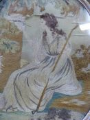A GEORGIAN OVAL SILKWORK PICTURE OF A CLASSICAL SHEPHERDESS TOGETHER WITH A PICTURE OF A YOUNG MAN