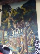 A DECORATIVE PAINTED PANEL IN A FAUX VERDURE FLEMISH 17th/18th.TAPESTRY DESIGN. 244 x 153cms.