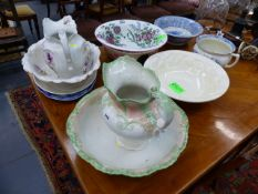A COLLECTION OF VICTORIAN AND LATER WASH JUGS AND BOWLS, MEAT PLATES, ETC. (QTY)