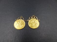 TWO 22ct GOLD HALF SOVEREIGNS, DATED 1907 AND 1913, BOTH FIXED AND MOUNTED AS PENDANTS. GROSS WEIGHT