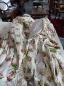 CURTAINS. A PAIR OF COUNTRY HOUSE LINED AND INTERLINED CURTAINS, PINK ROSE PATTERN.