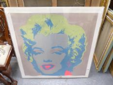 AFTER ANDY WARHOL. PORTRAIT OF MARILYN, COLOUR PRINT. 92 x 91cms.