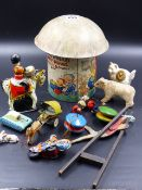 A MABEL LUCIE ATWELL DECORATED CRAWFORD'S BISCUIT TIN, VARIOUS CLOCKWORK AND OTHER TOYS,ETC. (QTY)
