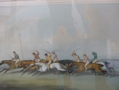 THREE COLOUR PRINTS OF HUNTING AND HORSE RACING SUBJECTS AFTER SAMUEL HOWITT.
