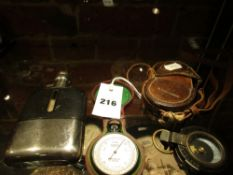 AN EARLY 20th.C.DOLLAND COMPENSATED POCKET BAROMETER WITH LEATHER OUTER CASE TOGETHER WITH A WWI