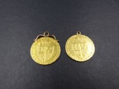 TWO 22ct GOLD SPADE GUINEAS, DATED 1788 AND 1798, BOTH COINS HAVE BEEN MOUNTED AND FIXED AS