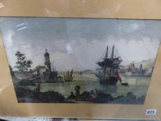 THREE EARLY CONTINENTAL HAND COLOURED LANDSCAPE ENGRAVINGS WITH UNUSUAL PIERCED DECORATION