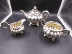A VICTORIAN THREE PIECE TEA SET. LONDON 1845. WILLIAM SMILY, WEIGHT 1445gms.