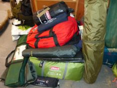 A LARGE QTY OF CAMPING EQUIPMENT, TENTS, STOVES, SLEEPING MATS, BAGS, ETC. (QTY) (K)