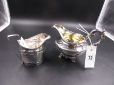 TWO GEORGIAN SILVER CREAMERS ONE WITH A GILDED INNER, DATED 1803 FOR THOMAS LAMBORN AND 1835 FOR