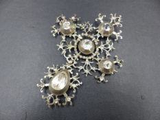 A LARGE GEORGIAN SILVER BLACK DOT PASTE OPEN WORK PENDANT WITH BRANCHES OF DECORATIVE SCROLL WORK