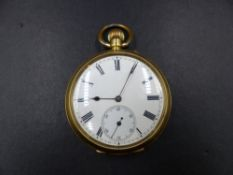 AN 18K STAMPED YELLOW GOLD OPEN FACE POCKET WATCH, CASE NUMBER 164228 WITH MONOGRAM ENGRAVING TO THE