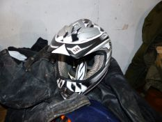 TWO MOTOCROSS HELMETS, MTORCYCLE BOOTS, JACKETS, LEATHER TROUSERS,ETC. (QTY)