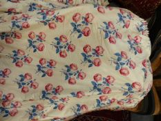 CURTAINS. A PAIR OF COUNTRY HOUSE LINED INTERLINED CURTAINS, PINK ROSE PATTERN.