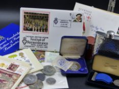 A COLLECTION OF COINS, BANKNOTES, POSTCARDS, FIRST DAY COVERS ETC TO INCLUDE A SILVER NURSING MEDAL.