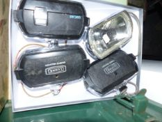 A QTY OF VINTAGE AUTOMOBILIA TO INCLUDE JAGUAR XK TYPE HEADLAMP, FOUR LUCAS DRIVING LAMPS, TWO SMALL