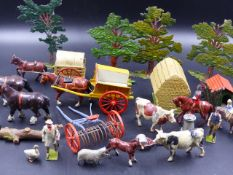 AN EXTENSIVE COLLECTION OF BRITAINS DIECAST FARM ANIMALS AND EQUIPMENT, MILITARY FIGURES, ETC. (