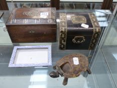 TWO VICTORIAN TEA CADDIES TOGETHER WITH A CANTONESE ENAMEL SMALL DISH AND A TORTOISE FORM VINTAGE
