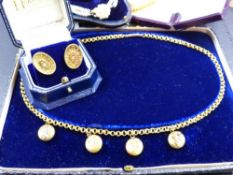 A SELECTION OF VICTORIAN JEWELLERY TO INCLUDE A BARREL BELCHER CHAIN HOLDING FOUR FLORAL EMBOSSED