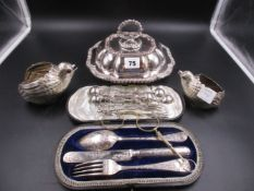 A PAIR OF SILVER PLATED QUAIL FORM DISHES TOGETHER WITH A ENTREE DISH WITH COVER, A PAIR OF