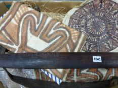 AN OCEANIC WEAVING LOOM AND THREE TAPA CLOTHS FROM COLLINGWOOD BAY,ETC.