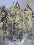 FELIKS TOPOLSKI. (1907-1989) LONDON STREET SCENE, PENCIL SIGNED LIMITED EDITION COLOUR PRINT. 74 x