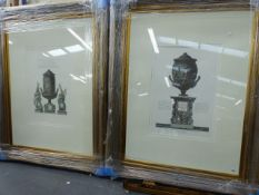 FOUR DECORATIVE LARGE FOLIO COLOUR PRINTS OF CLASSICAL URNS AFTER PIRANESI IN SWEPT FRAMES.