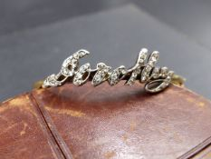 A LATE 19th CENTURY BESPOKE HINGED DIAMOND BANGLE. MADE BY GARRARDS JEWELLERS, LONDON, THE OLD CUT