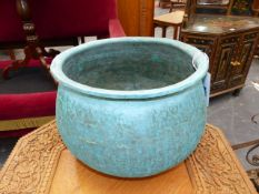 A HAND HAMMERED COPPER AND TIN LINED JARDINIERE OR DEEP BOWL. Dia.28cms.