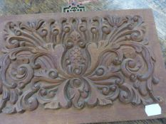 A GROUP OF FIVE CARVED OAK AND HARDWOOD ELEMENTS, SOME WITH FIGURAL DECORATION. LARGEST. 25 x 85cms.