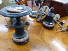 A PAIR OF VICTORIAN BLACK SLATE AND MARBLE GARNITURE STANDS TOEGETHER WITH VARIOUS FLOWER
