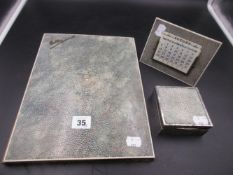 A THREE PART SHAGREEN AND SILVER HALLMARKED DESK SET, COMPRISING OF A CALENDAR, COVERED BOX AND