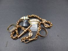 A POCKET WATCH CHAIN TOGETHER WITH 4 DRESS RINGS. A VICTORIAN 9ct ROSE GOLD FACETED AND FANCY LINK