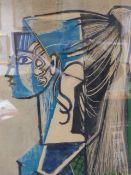 AFTER PABLO PICASSO. (1881-1973) PORTRAIT OF SYLVETTE, COLOUR PRINT. 54 x 43cms.