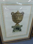 A GROUP OF FIVE DECORATIVE PICTURES OF CLASSICAL URNS, FOUR AFTER PIRANESI. LARGEST OVERALL. 66 x