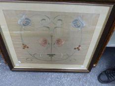 A FRAMED ARTS AND CRAFTS SILKWORK PANEL. 47 x 55cms.
