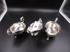 THREE SILVER HALLMAKED SAUCE BOATS, VARIOUSLY DATED 1936 AND 1977, FOR J B CHATTERLEY & SONS LTD,