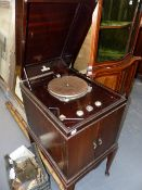 VARIOUS VINTAGE GRAMOPHONE CABINETS FOR RESTORATION.