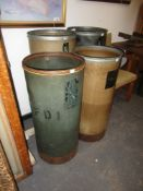 A GROUP OF FOUR VINTAGE NOTON CYLINDRICAL TEXTILE BINS. LARGEST H.100 x Dia.42cms.