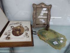 A VINTAGE HALLMARKED SILVER EASEL BACK PHOTO FRAME TOGETHER WITH A VICTORIAN FAMILY PHOTOGRAPH ALBUM