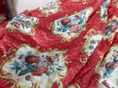 CURTAINS. TWO PAIRS OF COUNTRY HOUSE CURTAINS LINED AND INTERLINED, ONE PAIR OF CARNATION PATTERN