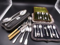 A QUANTITY OF SILVER FLATWARETO INCLUDE A CASED SET OF GEORGIAN DESERT SPOONS, ETC. GROSS WEIGHT