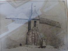 WILLIAM DOUGLAS MACLEOD. (1892-1963) BEACH SCENE, A PENCIL SIGNED ETCHING, UNFRAMED. 18 x 35cms.