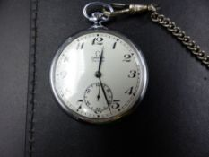 THREE POCKET WATCHES TO INCLUDE A 1970'S STAINLESS STEEL OMEGA, A 1920'S ELGIN AND A SWISS 935,