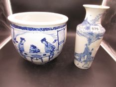 A CHINESE BLUE AND WHITE PLANTER PAINTED WITH LADIES PLAYING GO. Dia.14cms. AND A VASE WITH TWO
